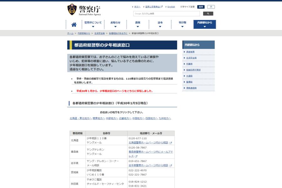 都道府県警察の少年相談窓口 公式サイト イメージ画像